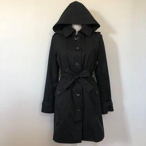 Michael Kors Black Hooded Trench Coat